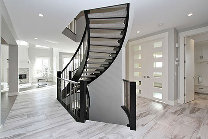 Open Riser Curved Staircase