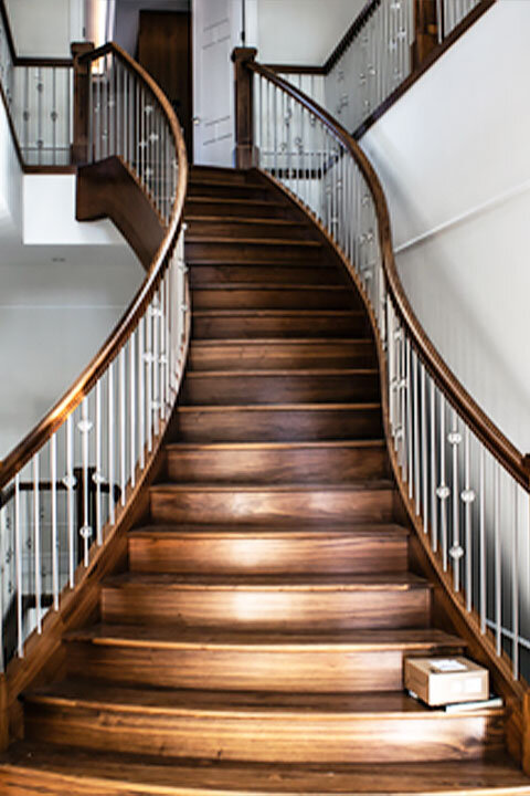 Beautiful Wooden Curved Stairs | Metal Spindles with Knuckle