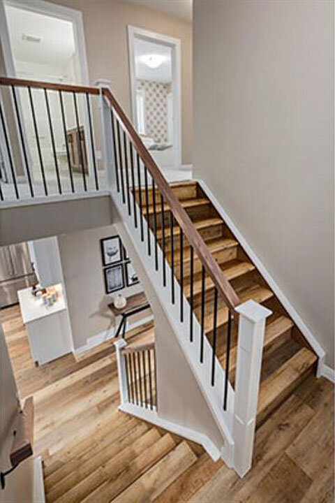 Rustic Stairs | Metal Spindles & Wooden Treads