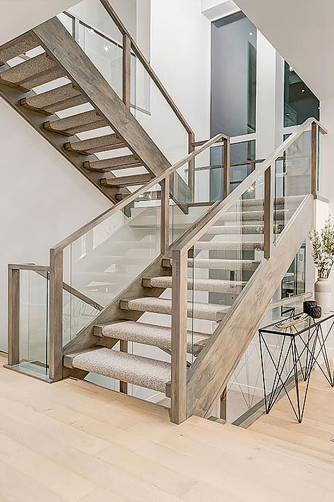 Distressed Wood Open Riser Stairs | Wood-Capped Glass