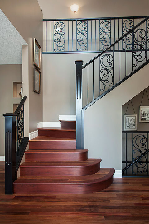 Metal Tuscan Panels | Flared Staircase