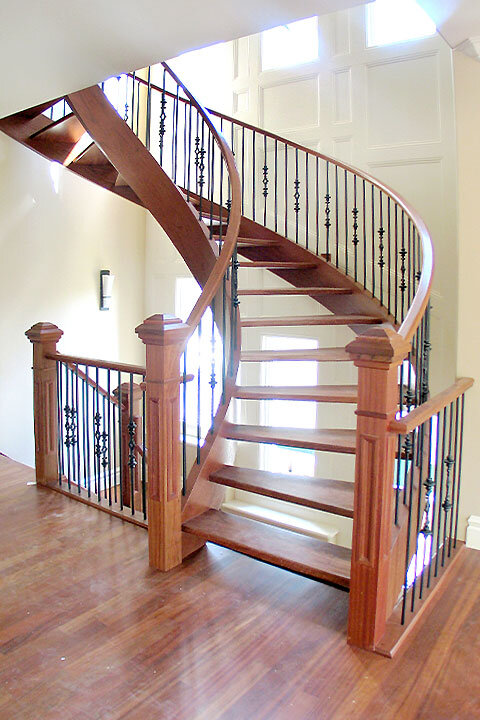 Curved Wooden Staircase with Open Design