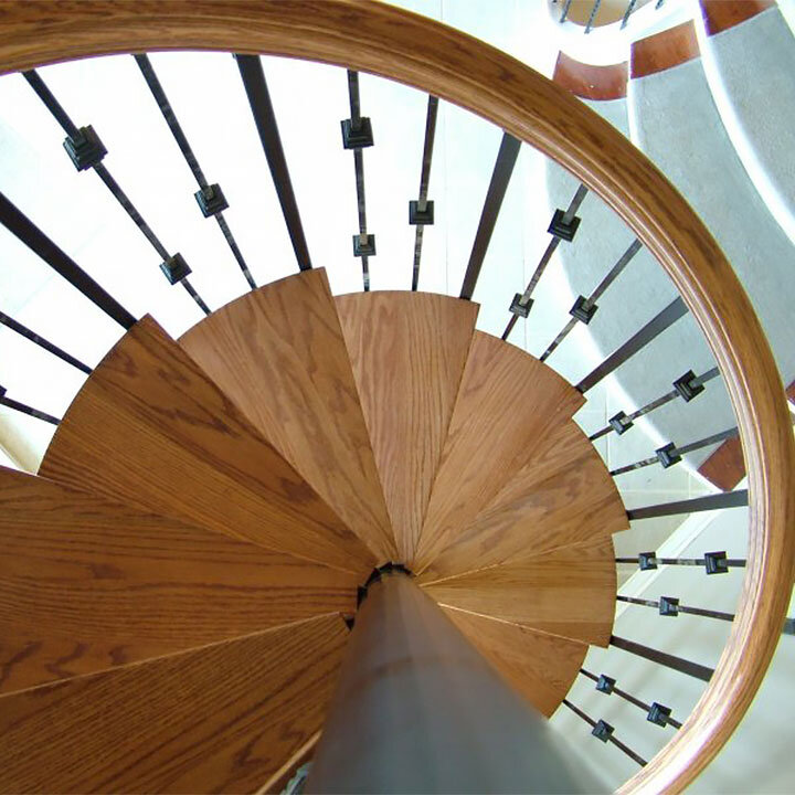 Spiral Staircase with Wood Treads and Metal Spindles