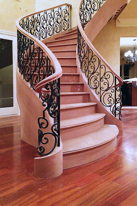 Classic Tuscan | Curved Staircase with Convex Treads | Designer Foot with Declining Rail