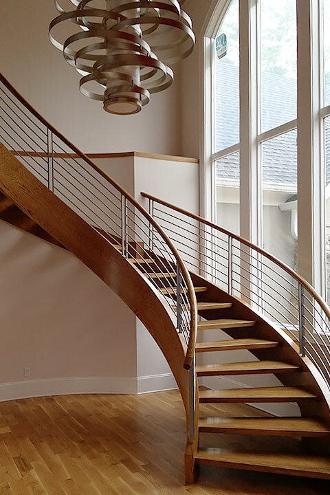Freestanding Curved Staircase | Open Riser Wood Treads