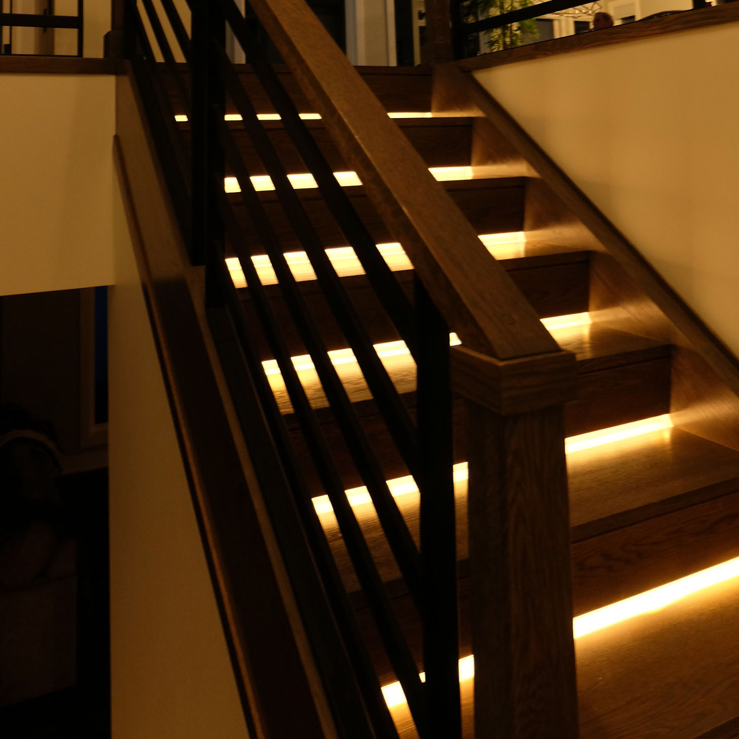 In-Stair Lighting with Horizontal Railing